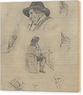 Sheet Of Sketches Wood Print