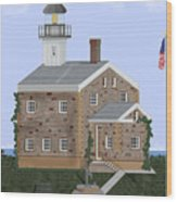 Sheffield Island Lighthouse Connecticut Wood Print