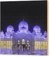 Sheikh Zayed Mosque Panorama View Wood Print