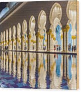 Sheikh Zayed Mosque Reflections Wood Print