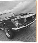 Shelby Gt500kr 1968 In Black And White Wood Print