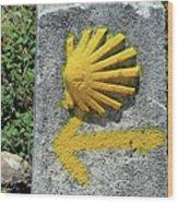 Shell And Arrow Marker, El Camino, Spain Wood Print