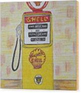 Shell Gas Pump Wood Print