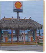 Shell Tiki Hut Station Wood Print