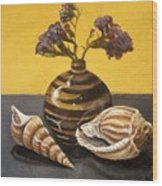 Shells And Stripes Wood Print