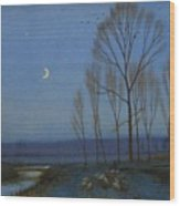 Shepherd And Sheep At Moonlight Wood Print by OB Morgan