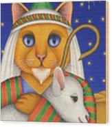 Shepherd Cat Wood Print