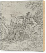 Shepherd Holding A Flute And Two Other Figures In A Landscape Wood Print