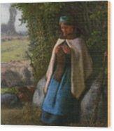 Shepherdess Seated On A Rock Wood Print
