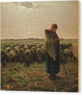 Shepherdess With Her Flock Wood Print by Jean Francois Millet