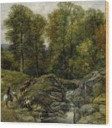 Shepherds Next To A Brook By Thomas Creswick Wood Print