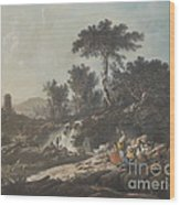 Shepherds Resting By A Stream Wood Print