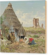 Shepherds Resting In The Roman Campagna Wood Print