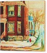 Sherbrooke In Winter Wood Print