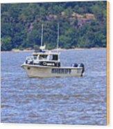Sheriff Boat On The Hudson Wood Print