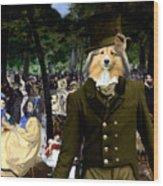 Shetland Sheepdog Art Canvas Print - Music In The Tuileries Gardens Wood Print
