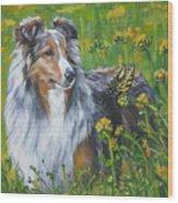 Shetland Sheepdog Wildflowers Wood Print