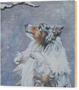 Shetland Sheepdog With Chickadee Wood Print