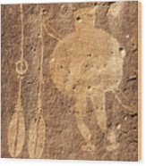 Shield Figure With Weapons Petroglyph Wood Print