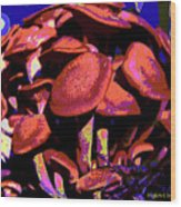 Shimmering Shrooms Wood Print