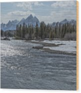 Shimmering Snake River And The Tetons Wood Print
