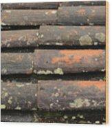 Shingled Roof In The Rain Wood Print