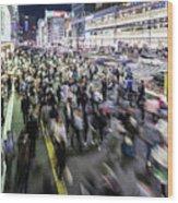 Shinjuku People Rush Wood Print