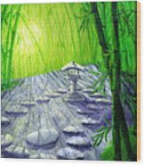 Shinto Lantern In Bamboo Forest Wood Print