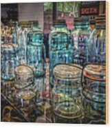 Shiny Glass Jars Wood Print
