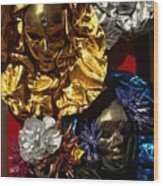 Shiny Masks In Venice Wood Print