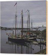 Ship At Dock. Wood Print