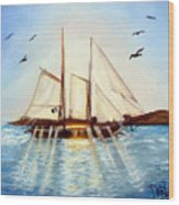 Ship At Mallory Square Wood Print