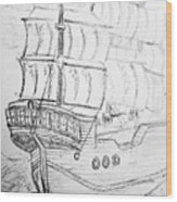 Ship At Sea Wood Print