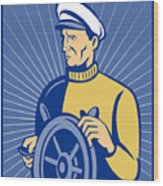 Ship Captain At The Helm  Wood Print