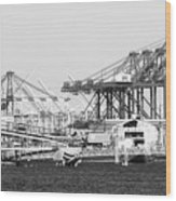 Ship Container Cranes Blk Wht Wood Print