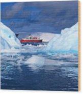 Ship In Between Icebergs Wood Print