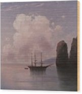 Ship In Calm Water At Dusk Wood Print