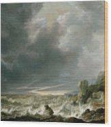 Ship In Distress Off A Rocky Coast Wood Print