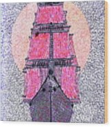 Ship In Sun Wood Print