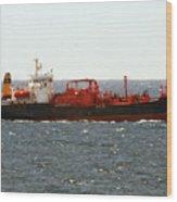 Ship Leaving Galveston Wood Print
