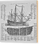 Ship Of War Plans Wood Print