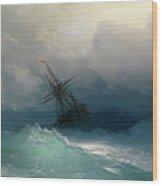 Ship On Stormy Seas Wood Print