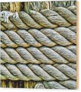Ship Rope Anchored Wood Print
