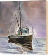 Ship Stormy Weather Wood Print