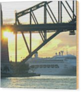 Ship Under Sydney Harbour Bridge Wood Print