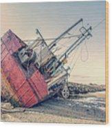 Shipwreck Provincetown Breakwater Wood Print