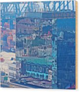 Shipping Containers And Building Windows Reflecting Graffiti  Art Of Valparaiso-chile Wood Print