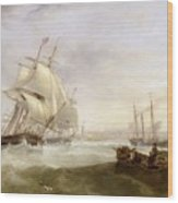 Shipping Off Hartlepool Wood Print by John Wilson Carmichael