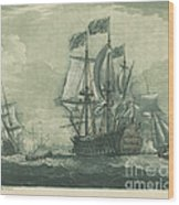 Shipping Scene With Man-of-war Wood Print