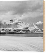 Ships All In A Row Wood Print